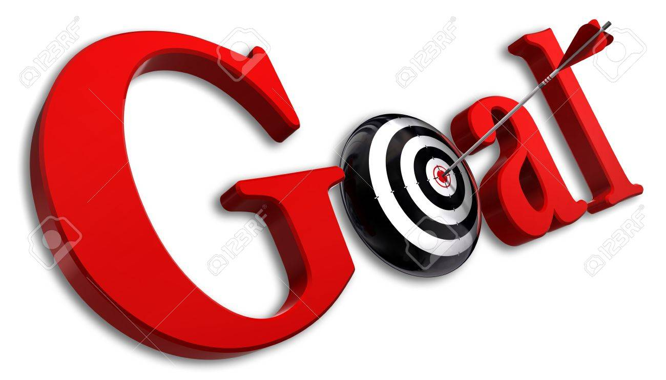 goal red word and conceptual target with arrow on white background Stock Photo - 12117855