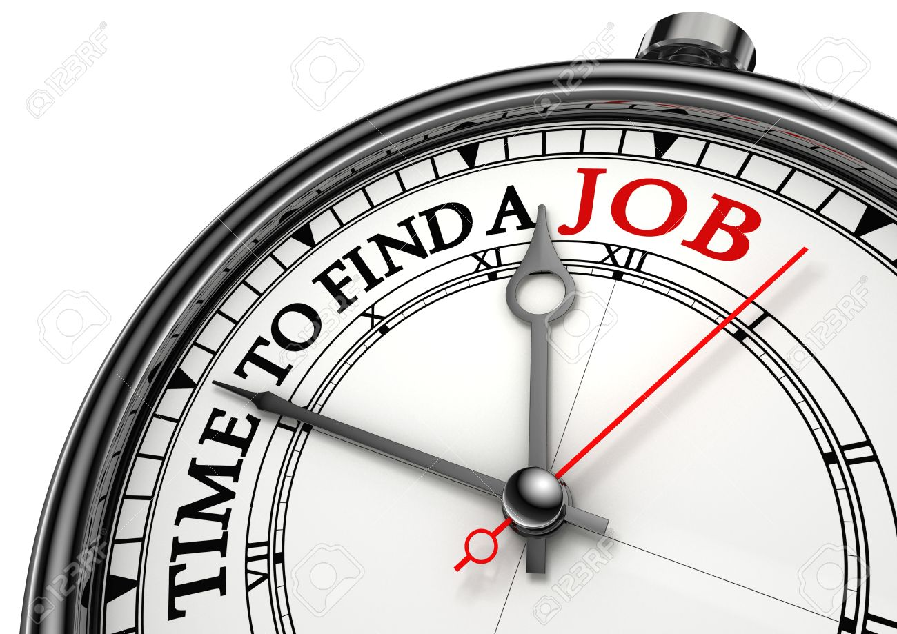 time to find a job concept clock closeup on white background with red and black words Stock Photo - 12117929