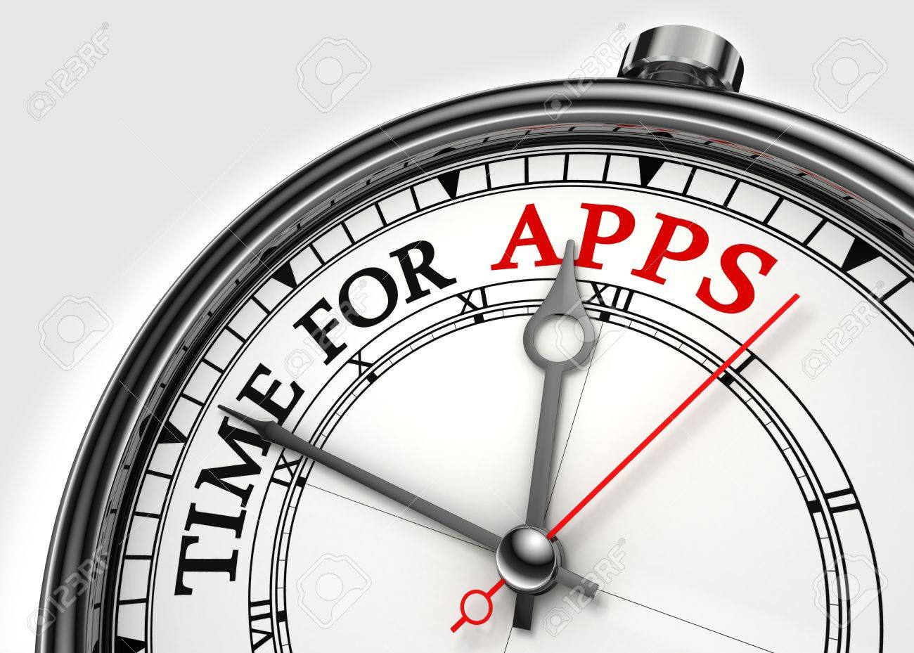 time for apps concept clock closeup on white background with red and black words Stock Photo - 12117971