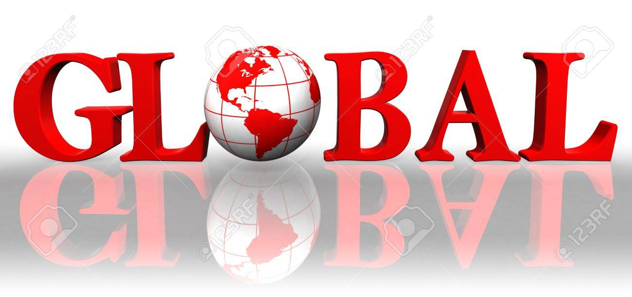 global red word and earth globe on white background Stock Photo - 12727834