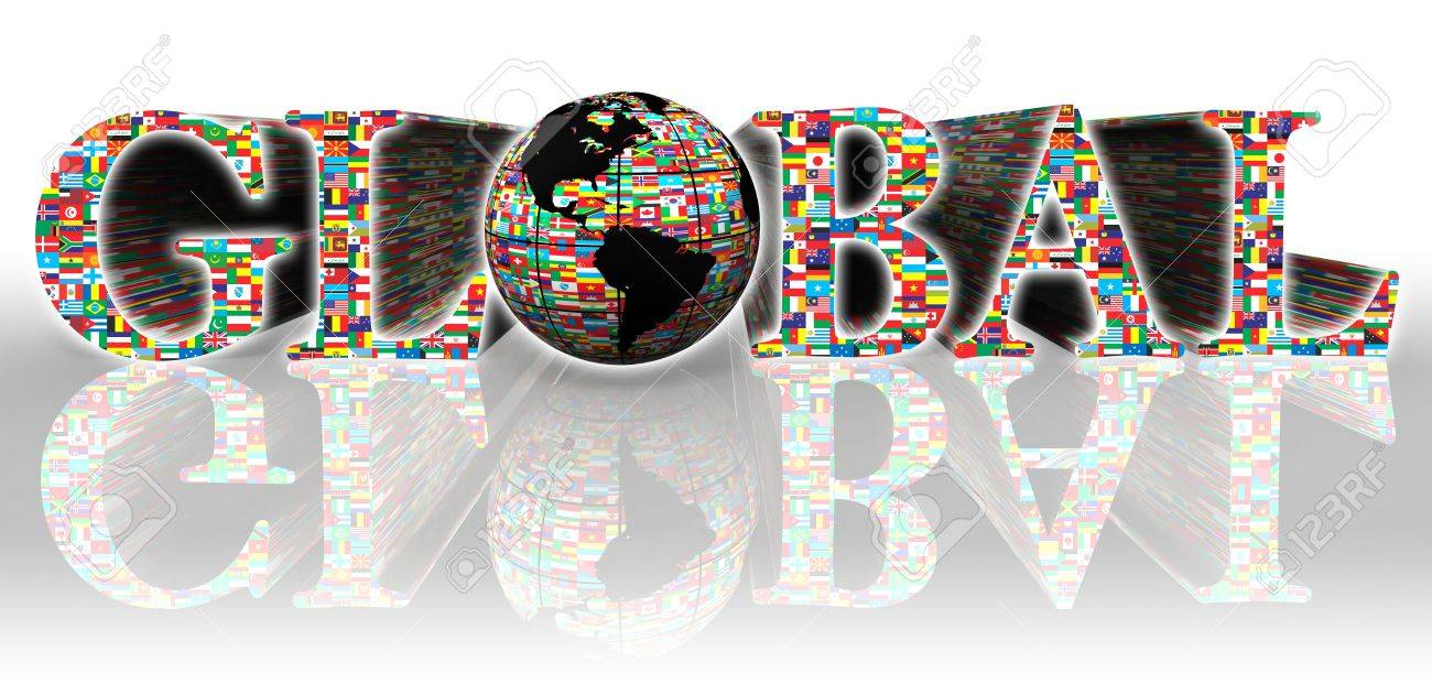 global flags word and earth globe on white background Stock Photo - 12727925