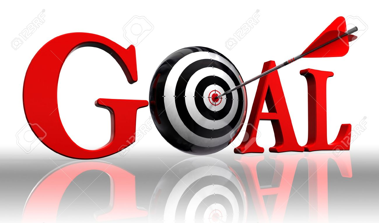 Goal Red Word And Conceptual Target With Arrow On White Background ...