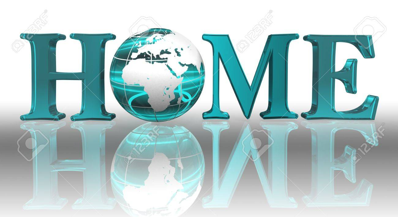 home logo word and blue earth globe Stock Photo - 12727854