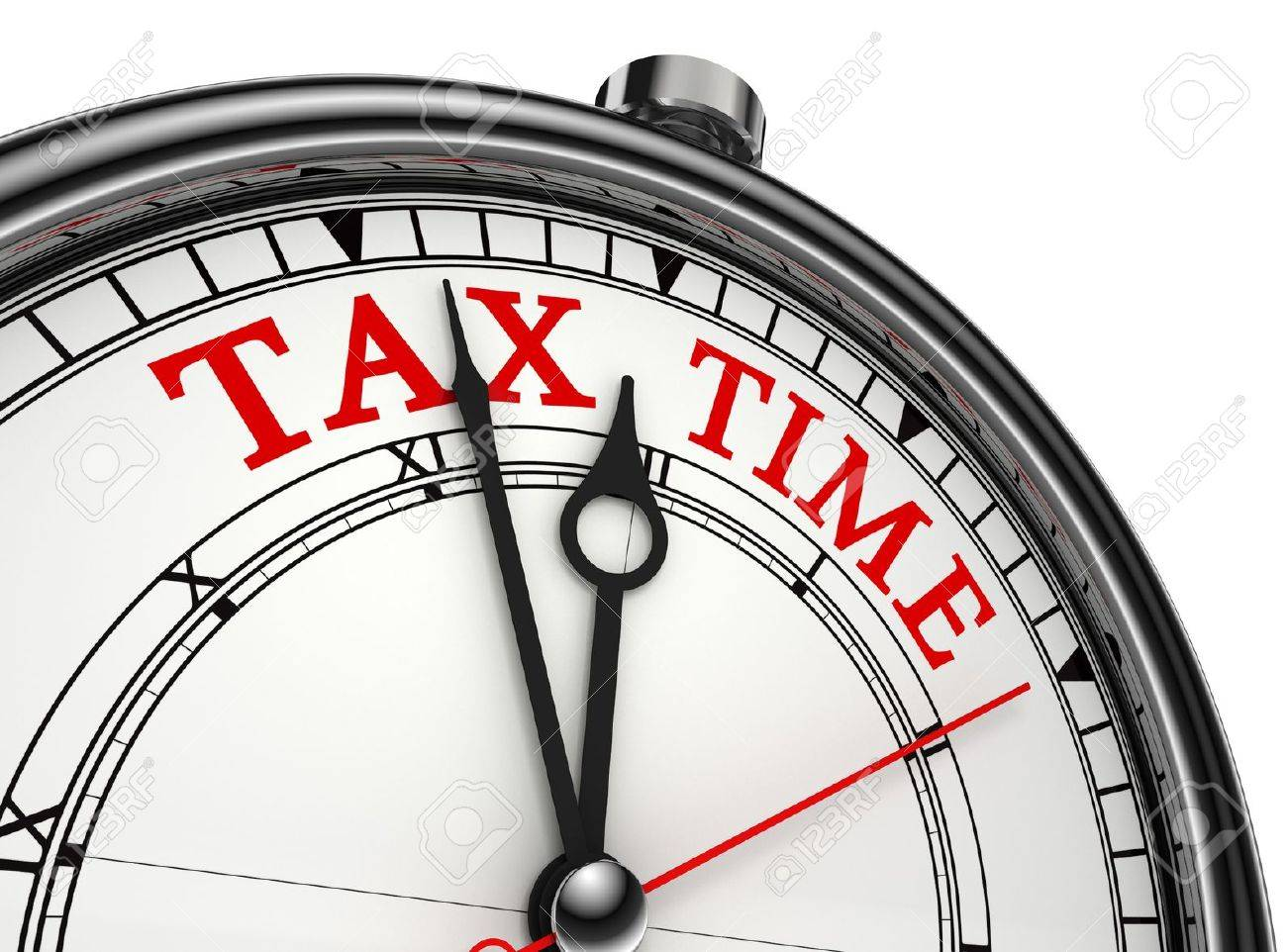 tax time concept clock closeup isolated on white background with red and black words Stock Photo - 12727898