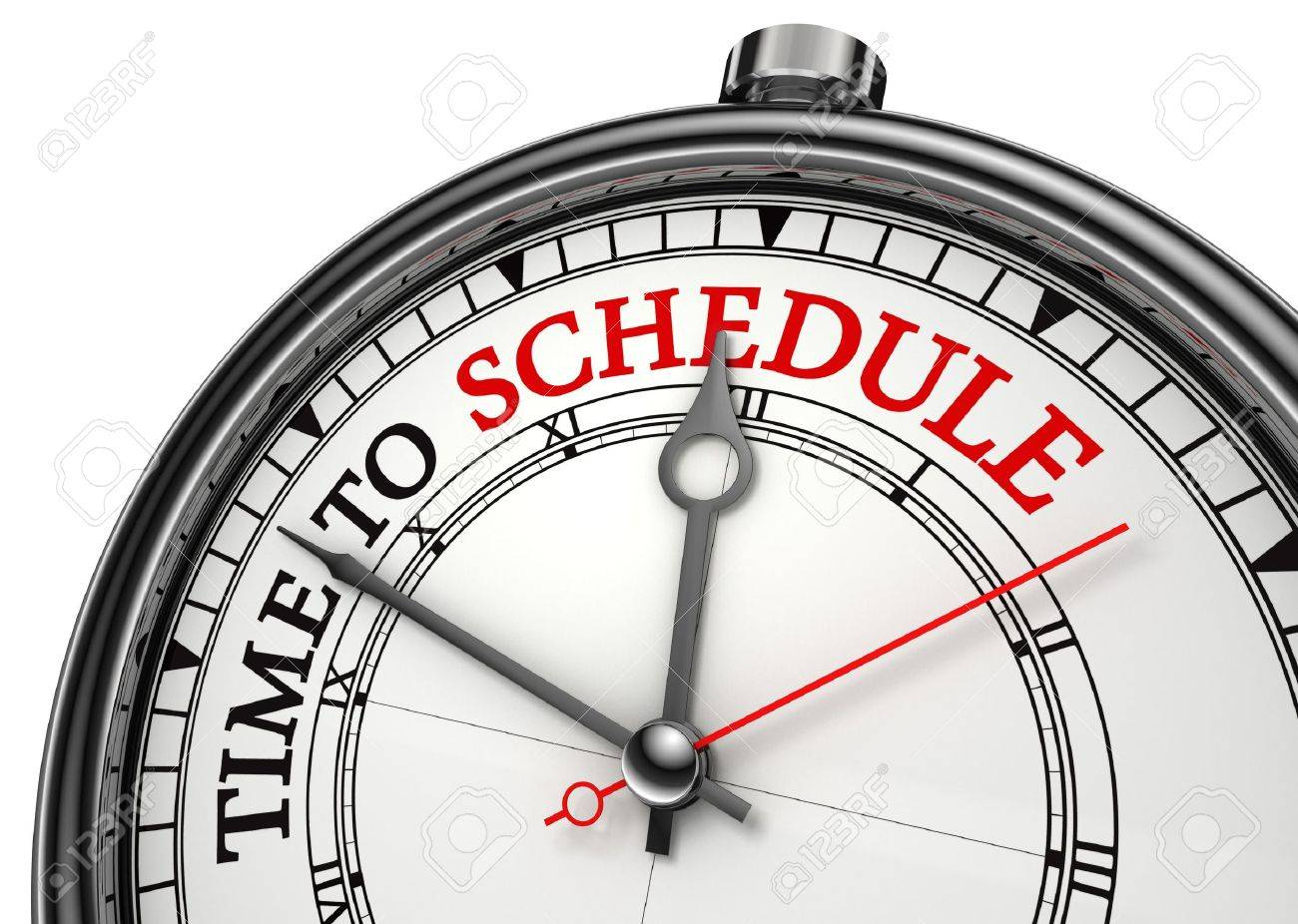 time to schedule concept clock closeup isolated on white background