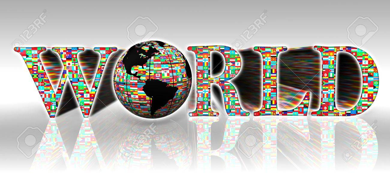 world flags word and earth globe on white background Stock Photo - 12727921