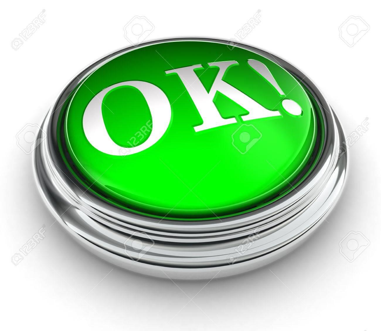 ok word on green push button on white background. Stock Photo - 13012775