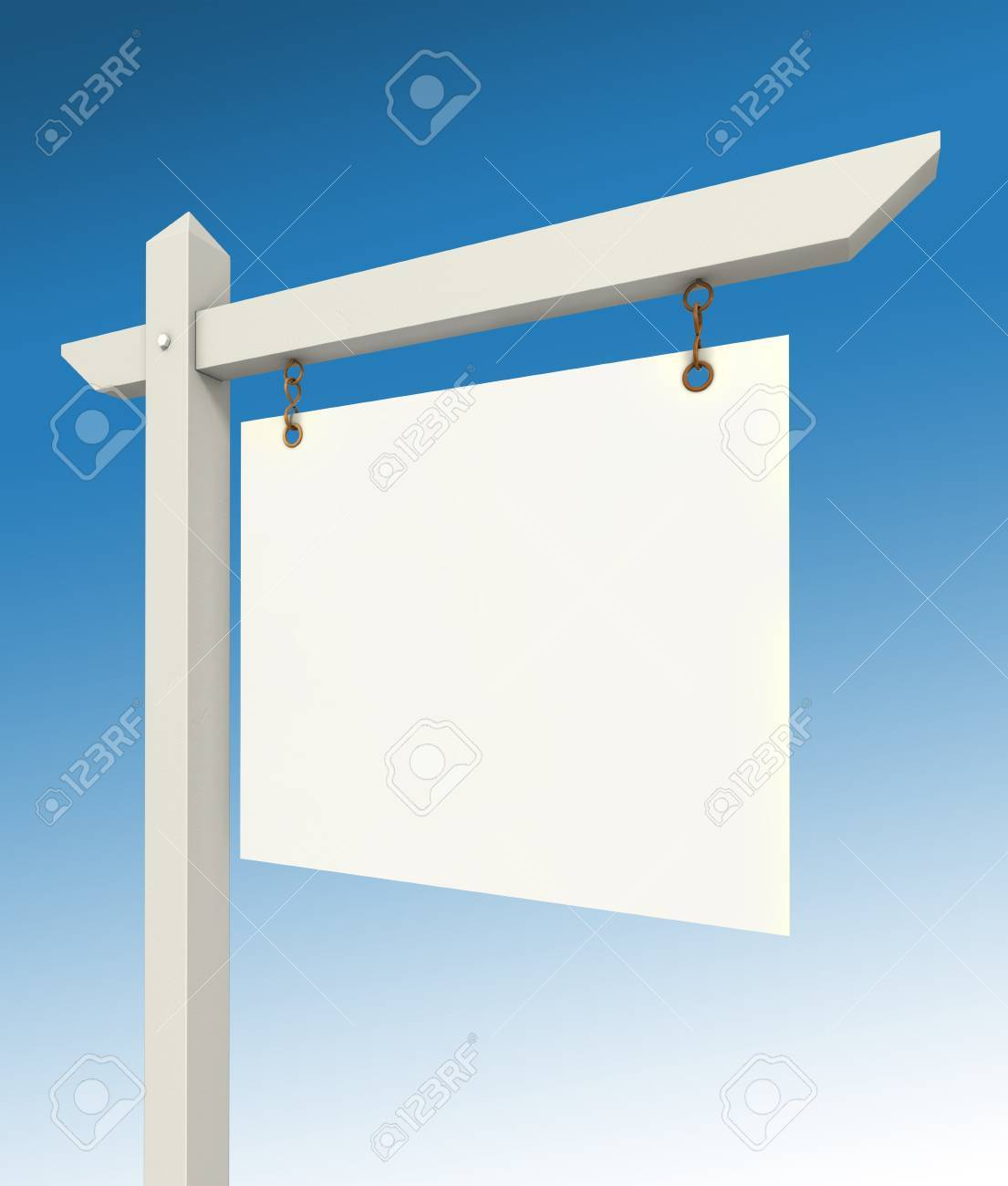 real estate empty sign on blue background Stock Photo - 13012737