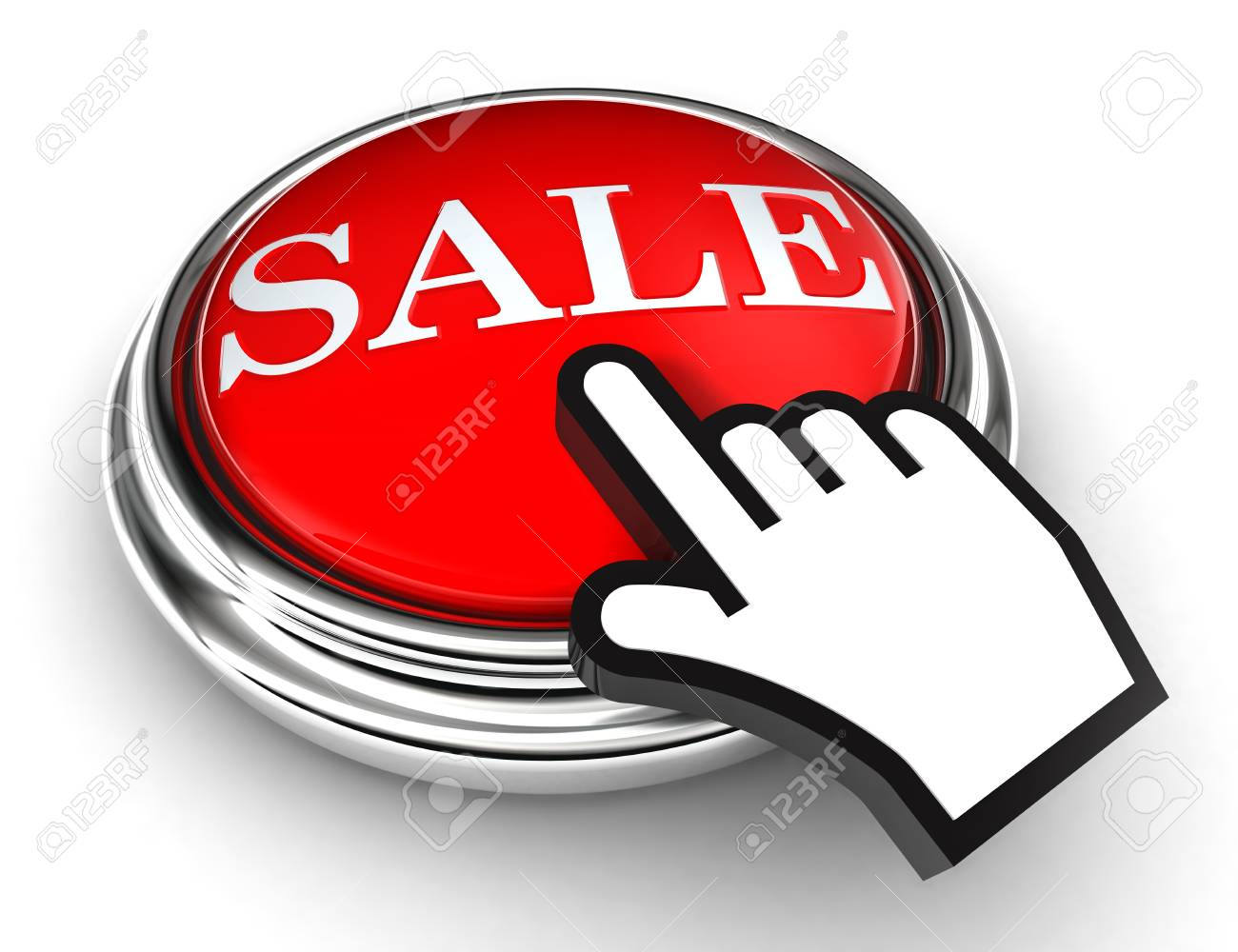 sale red button and cursor hand on white background Stock Photo - 13264814