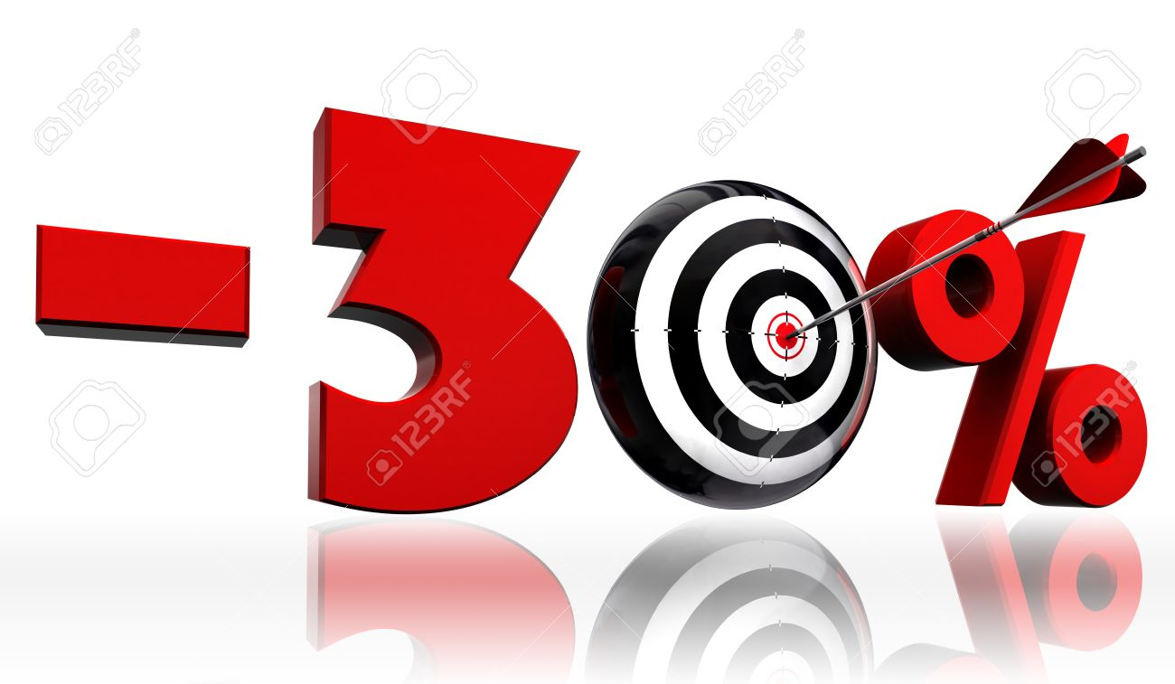 Thirty per cent 30 red discount symbol with conceptual target thirty per cent 30 red discount symbol with conceptual target and arrow on white background stock buycottarizona Image collections
