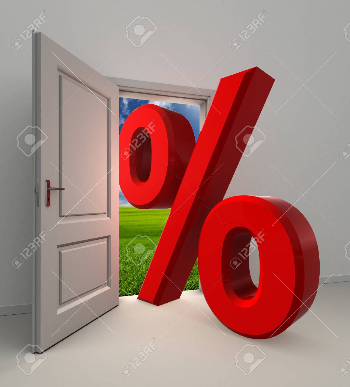 percentage  symbol and white open door with field and sky background Stock Photo - 16217558