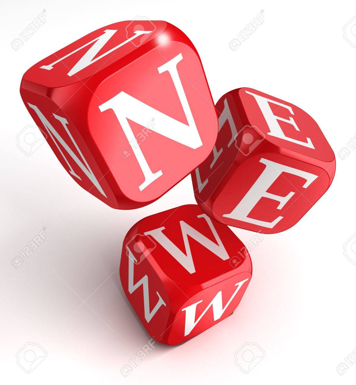 new word on red box dice on white background. Stock Photo - 16217502