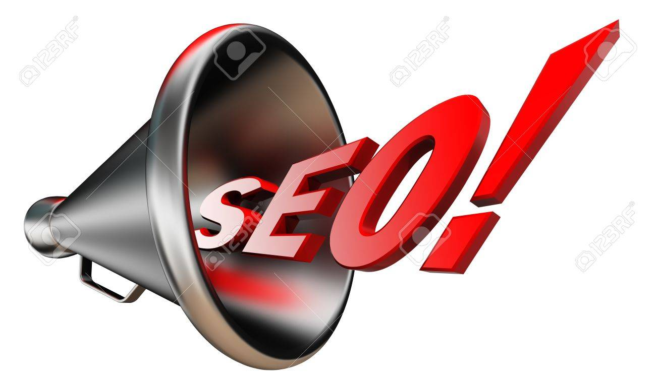seo red wonrd and conceptual bullhorn on white background. Stock Photo - 16217409