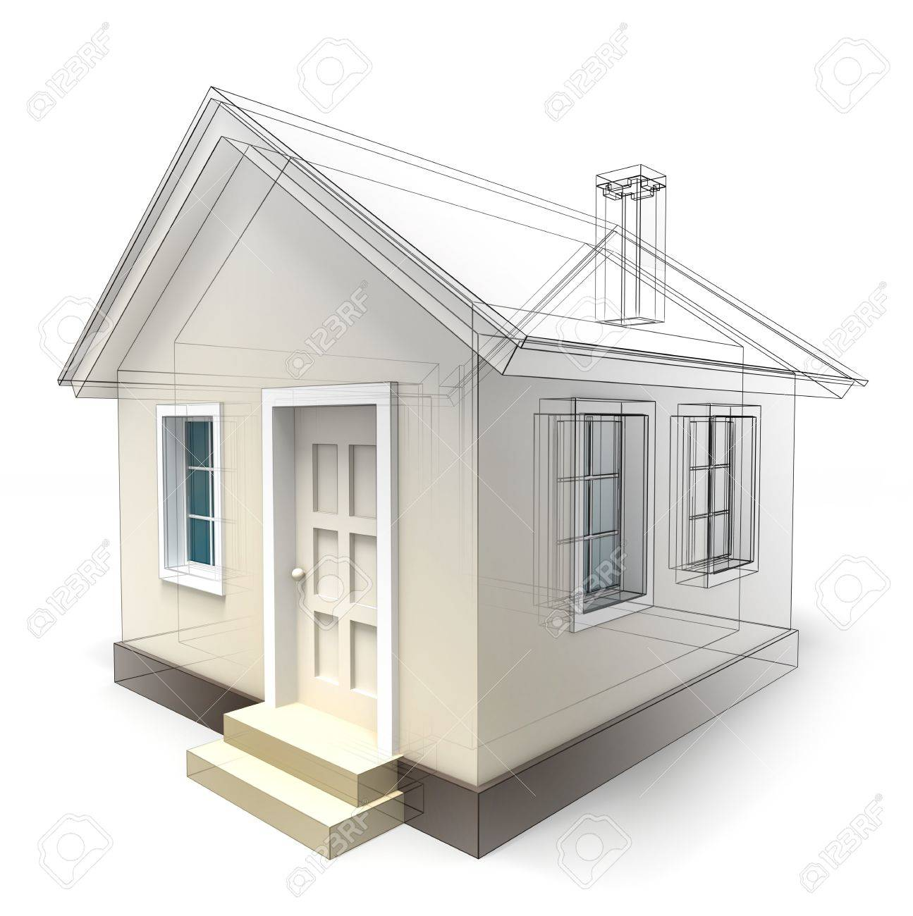 House Design Sketch On White Background Clipping Path Included Stock Photo
