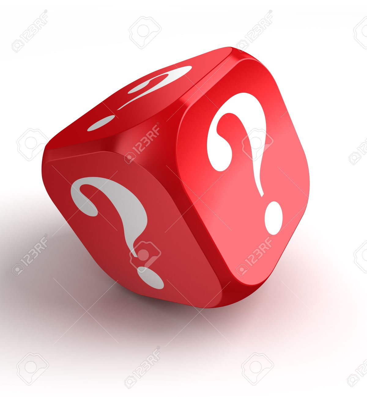 red dice with question mark on white background Stock Photo - 18035872