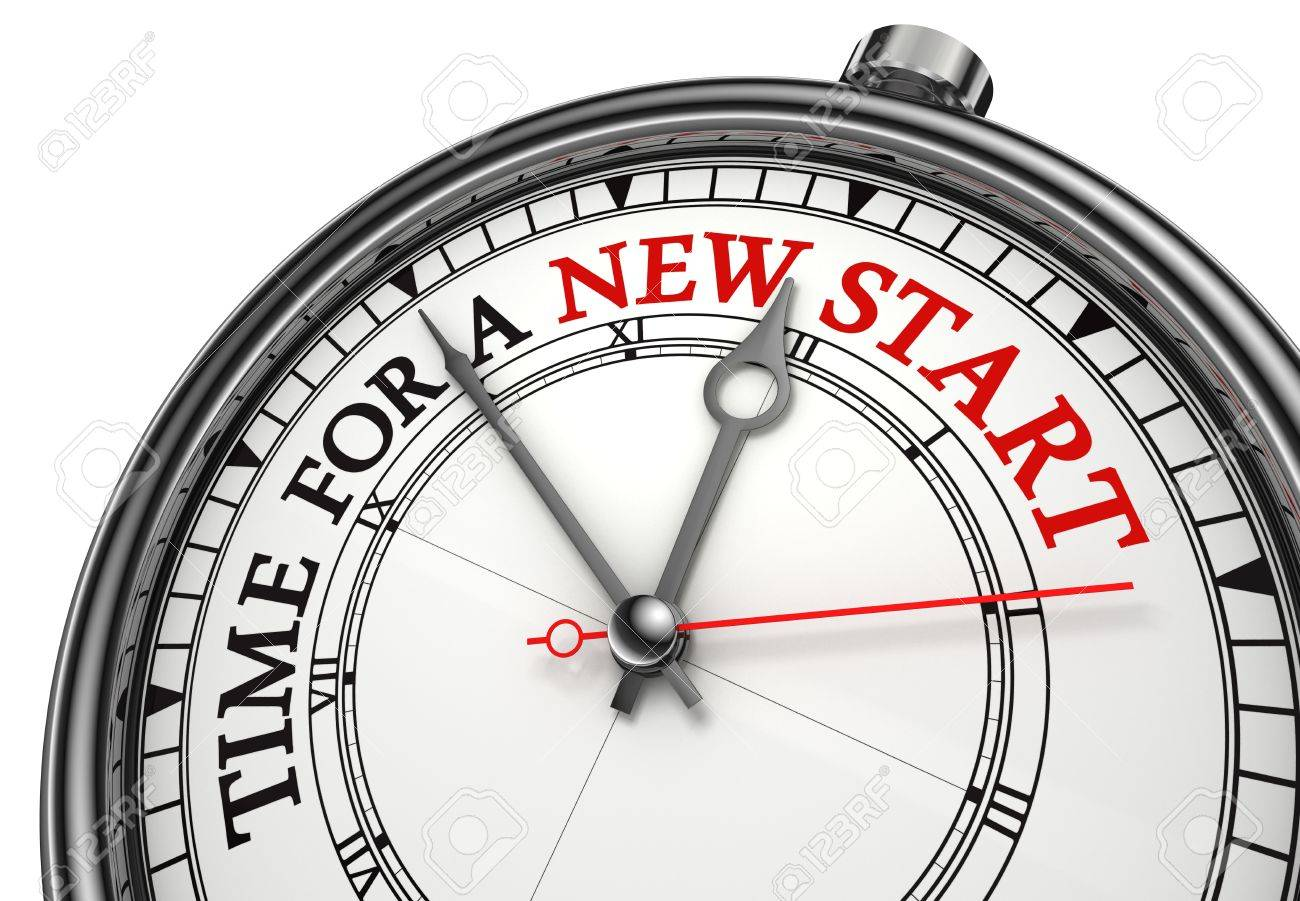 time for a new start concept clock closeup on white background with red and black words Stock Photo - 18035890