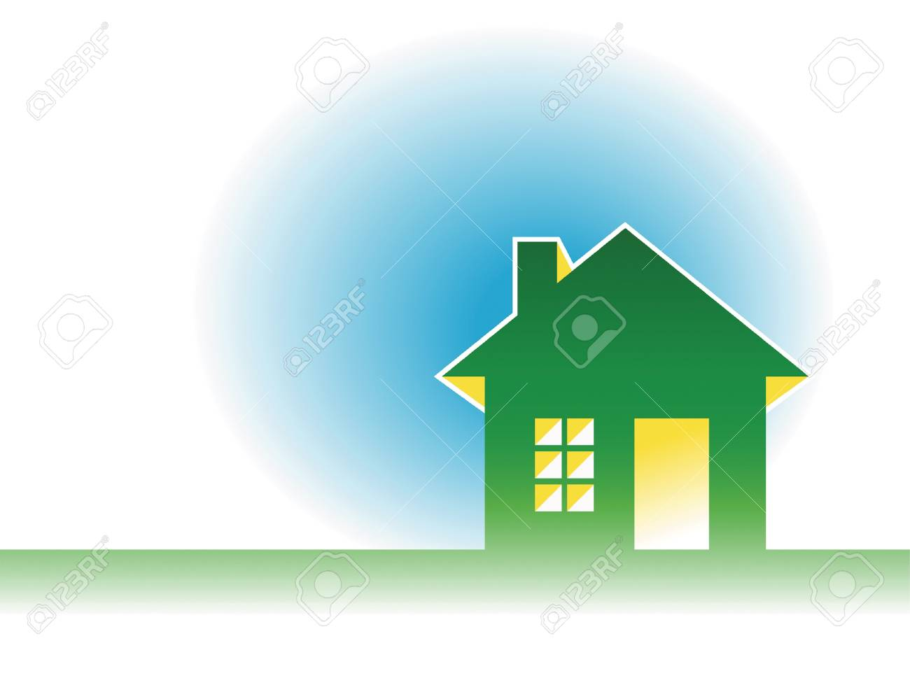 house icon on blue background illustration Stock Vector - 18035871