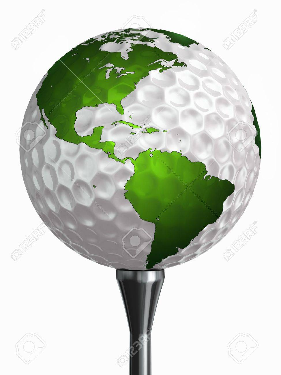 north and south america on golf ball and tee isolated on white backgound  clipping path included Stock Photo - 19022397