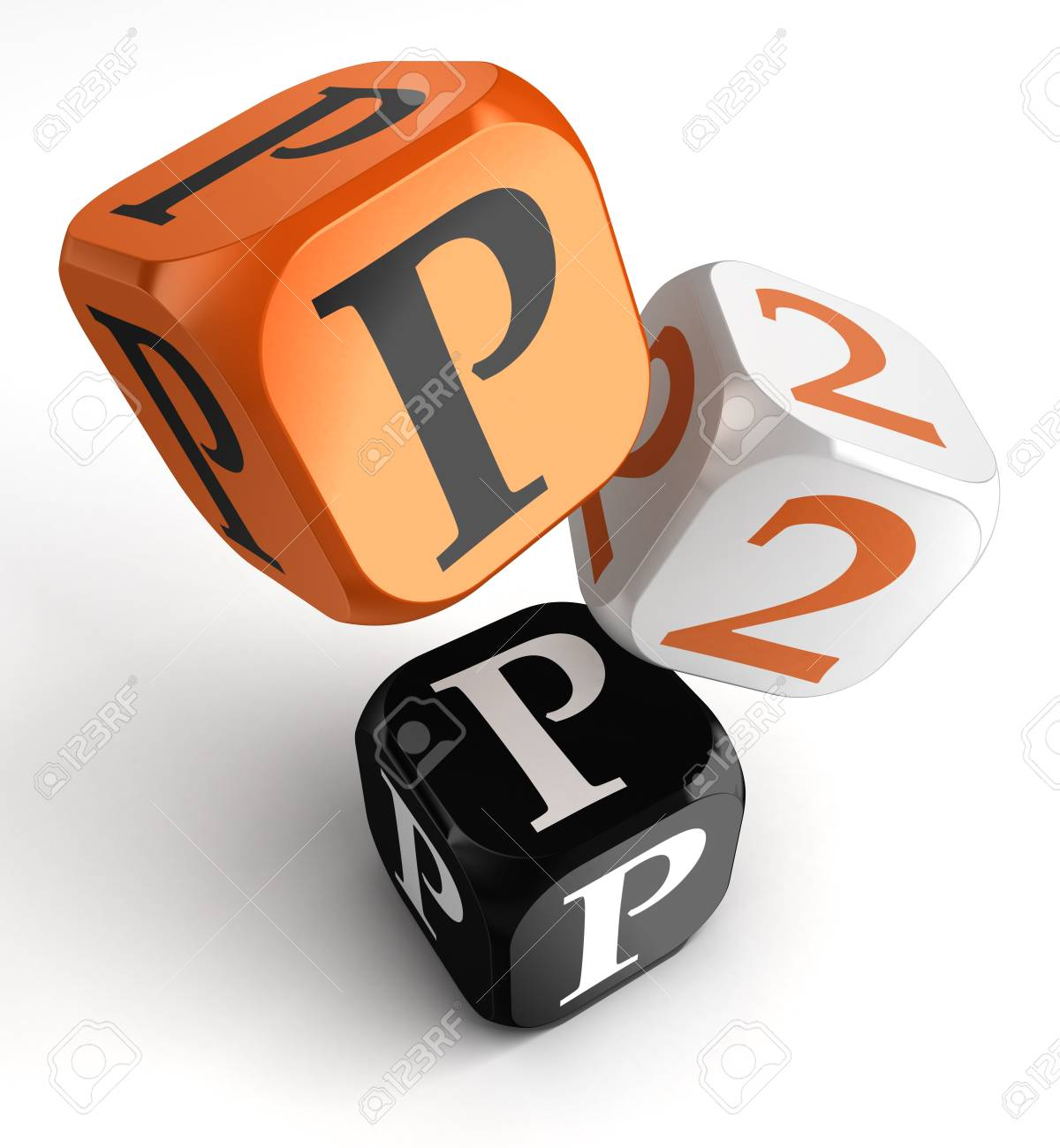 P2p orange black dice blocks on white background  clipping path included Stock Photo - 19022379
