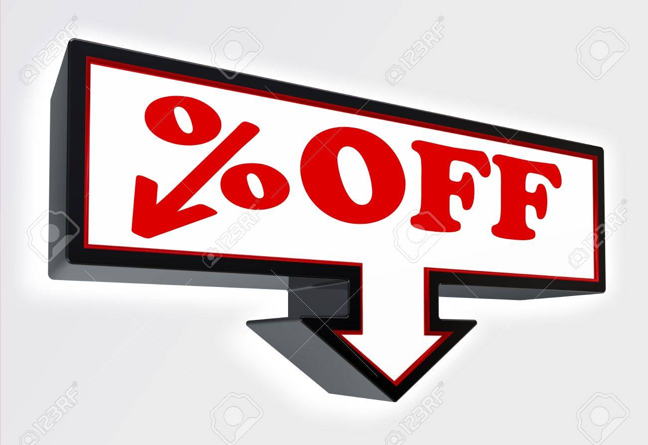 per cent off price sign with arrow down red and black on white background  clipping path included Stock Photo - 19022364