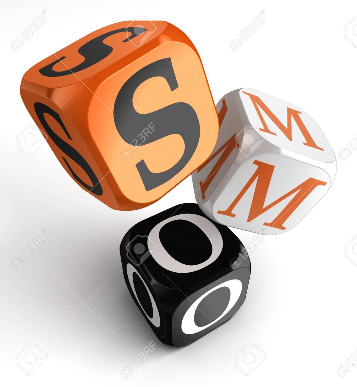 social media optimization orange black dice blocks on white background  clipping path included Stock Photo - 19022420