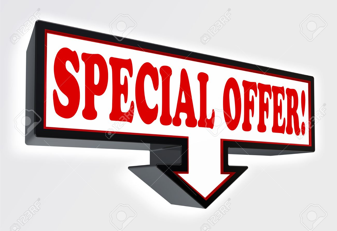 special offer sign with arrow down red and black on white background  clipping path included Stock Photo - 19022371