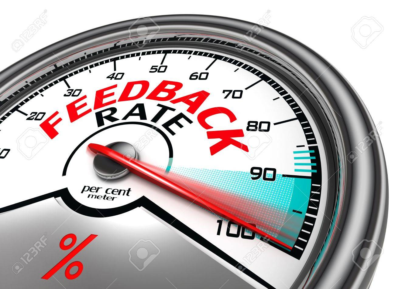 feedback rate meter indicate hundred per cent, isolated on white background Stock Photo - 19912677