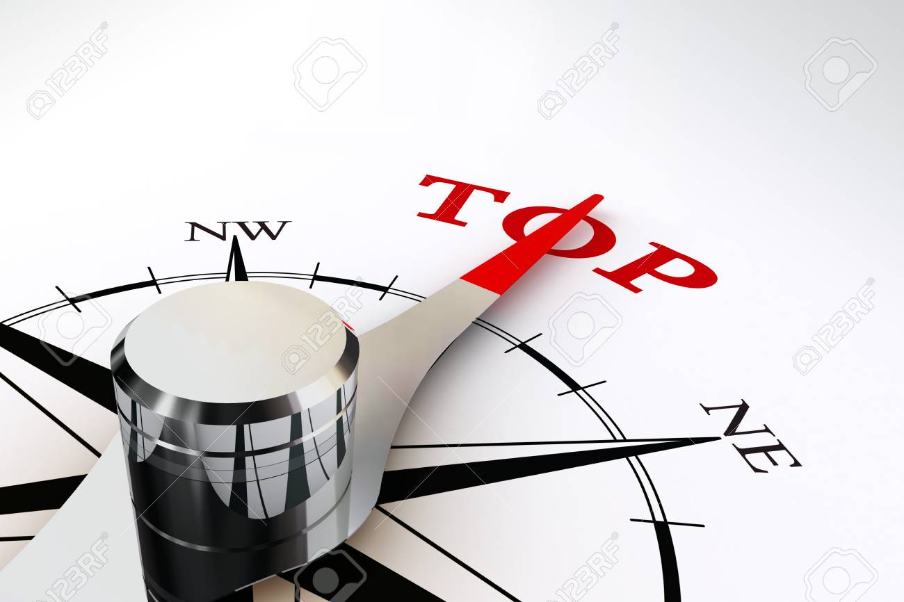 way to the top indicated by compass on white background Stock Photo - 23913853