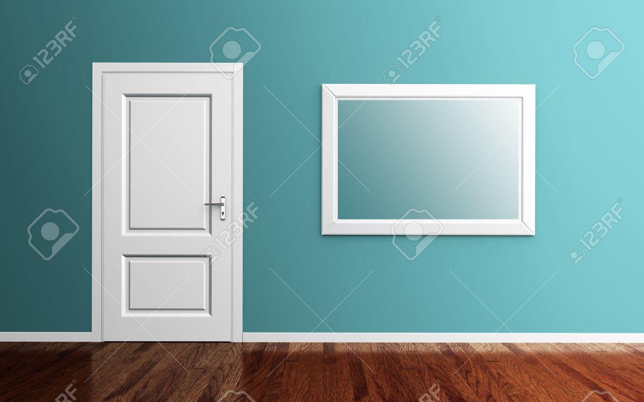 Innenraum Mit Weißen Tür, Bilderrahmen Und Holzboden 3d Render ...