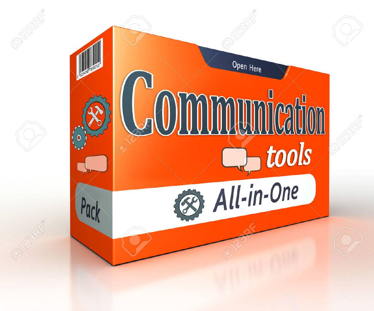 communication tools orange pack concept on white background. clipping path included Stock Photo - 47422109