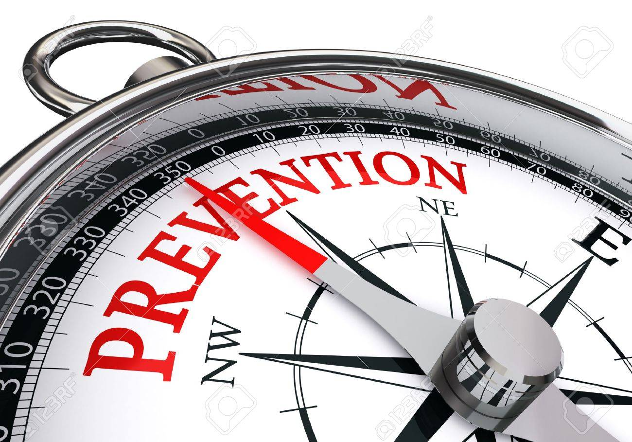prevention red word on concept compass, isolated on white background - 47421568
