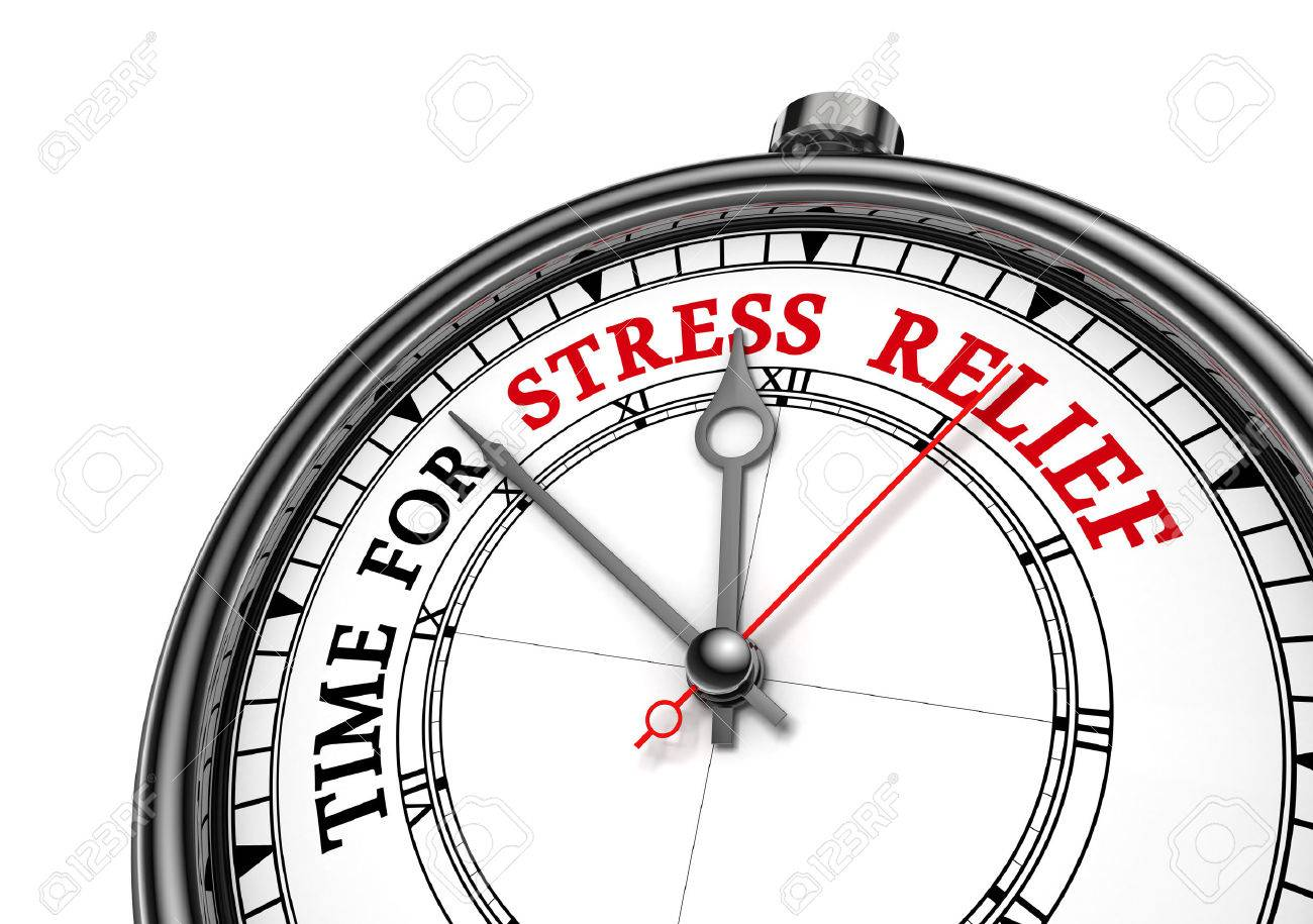 Time for stress relief motivation clock, isolated on white background - 50660937