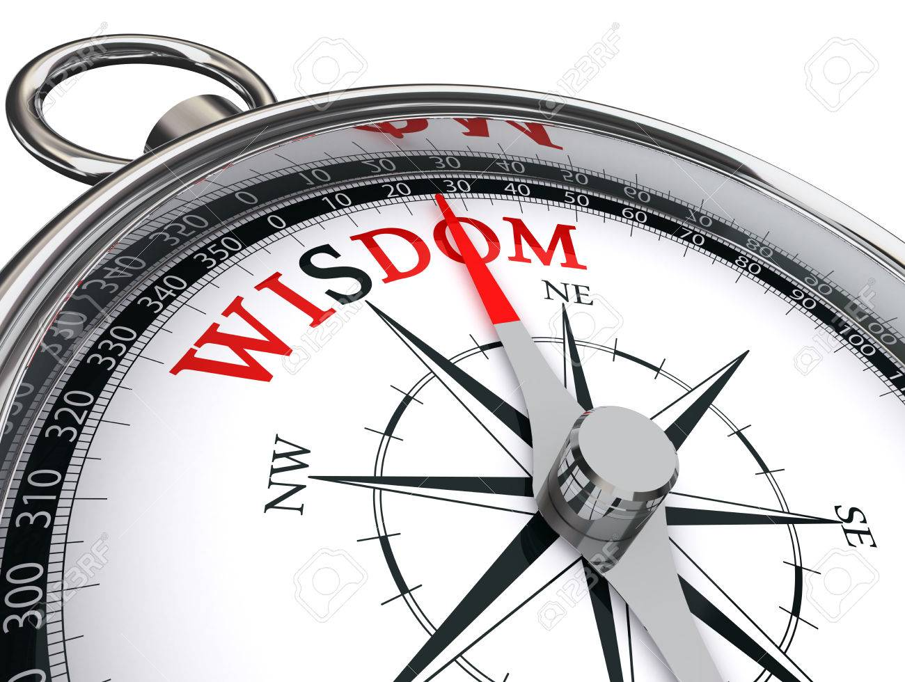 Wisdom Red Word On Motivation Compass, Isolated On White ...