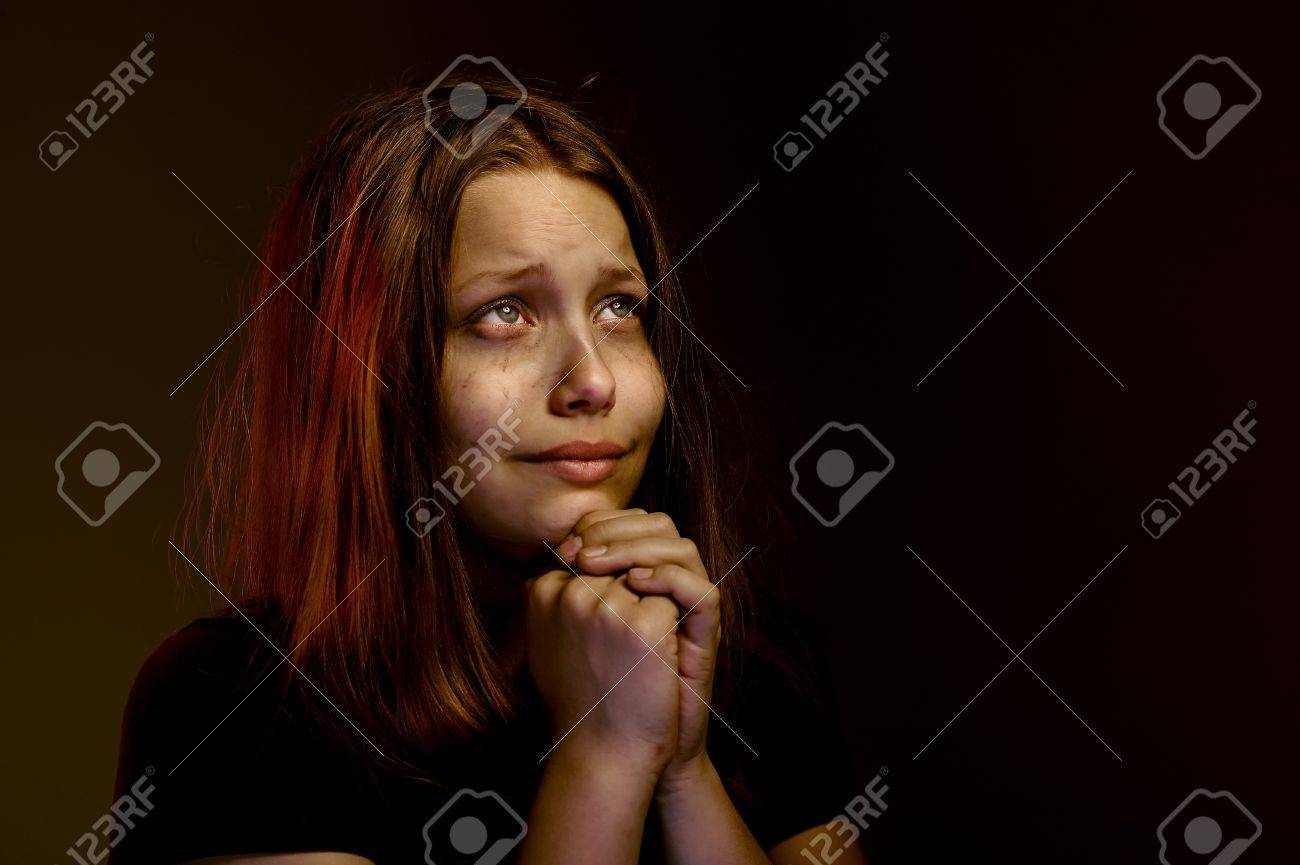 Desperate Lonely Teen Girl Praying Stock Photo Picture And Royalty
