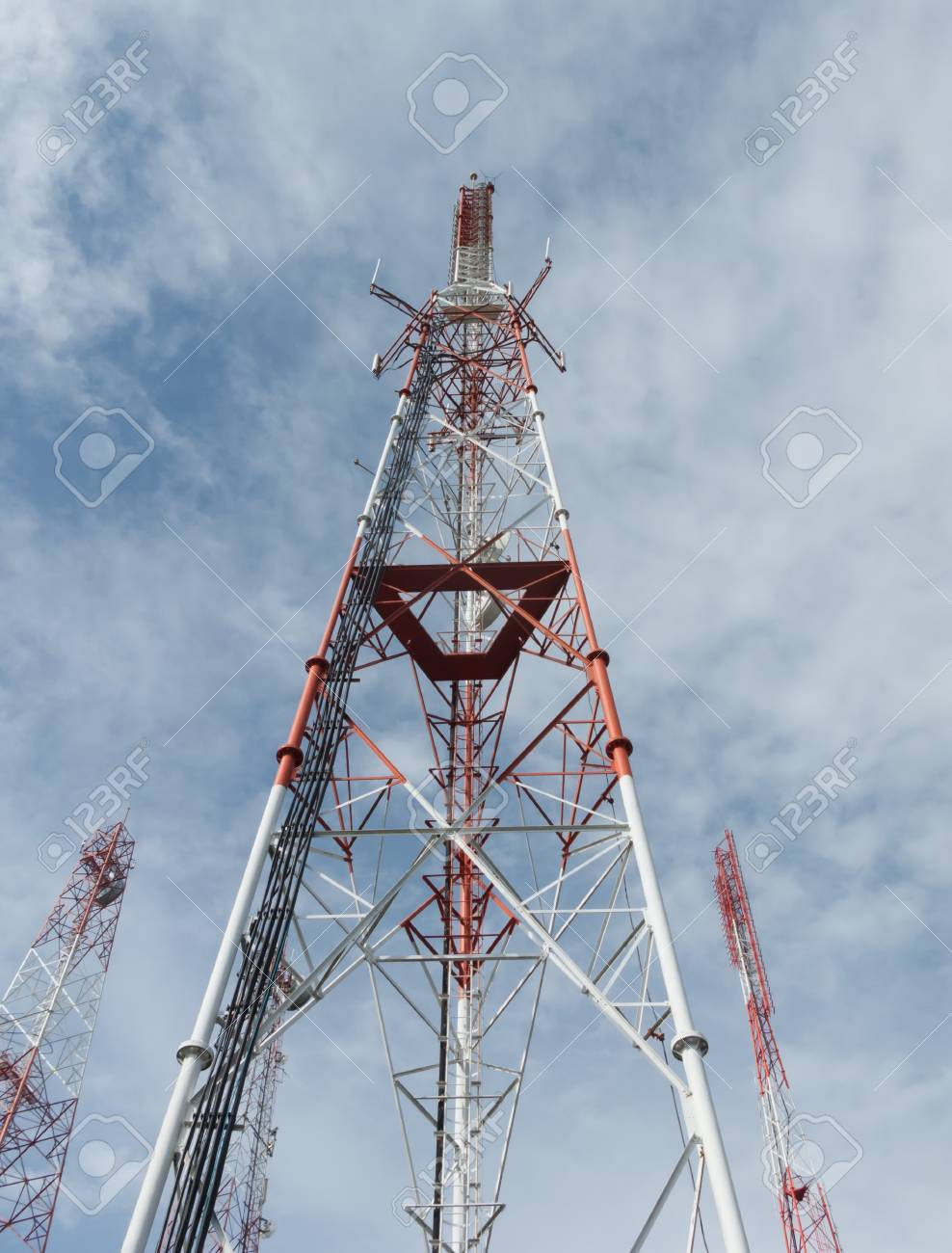 Telecommunication towers with blue sky Stock Photo - 14873161