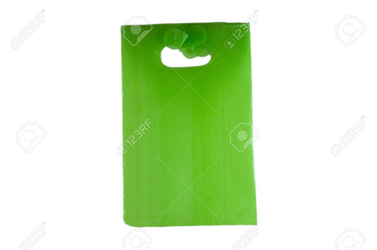 green empty plastic bag isolated over white background Stock Photo - 9682989