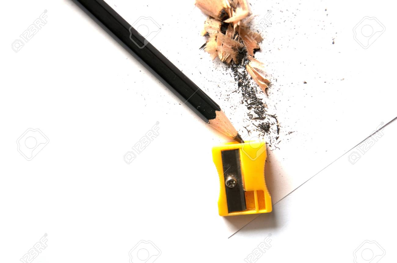 A pencil being sharpened, isolated on white background Stock Photo - 9794682