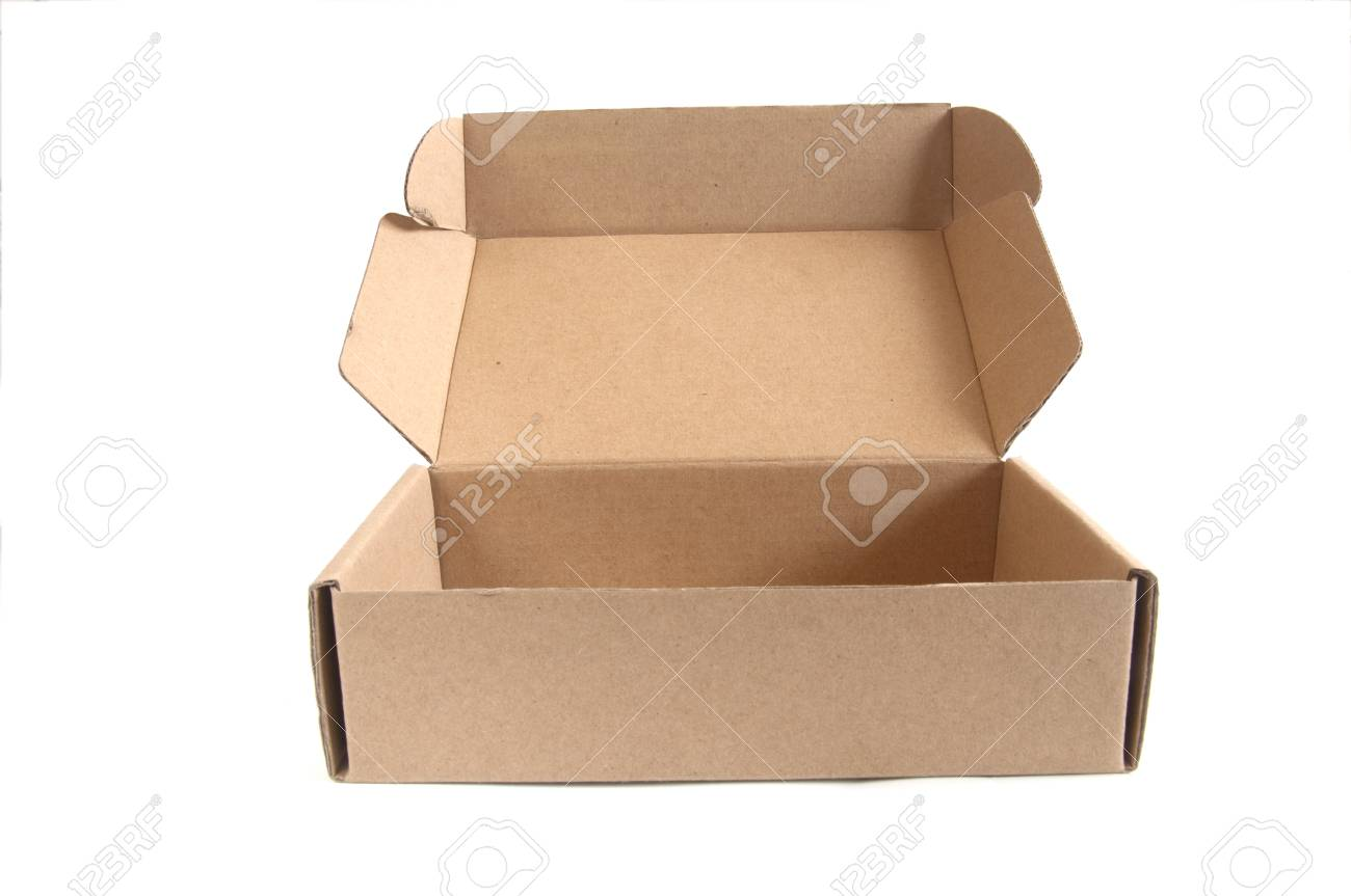 Open brown paper box on white with Background Stock Photo - 12583316