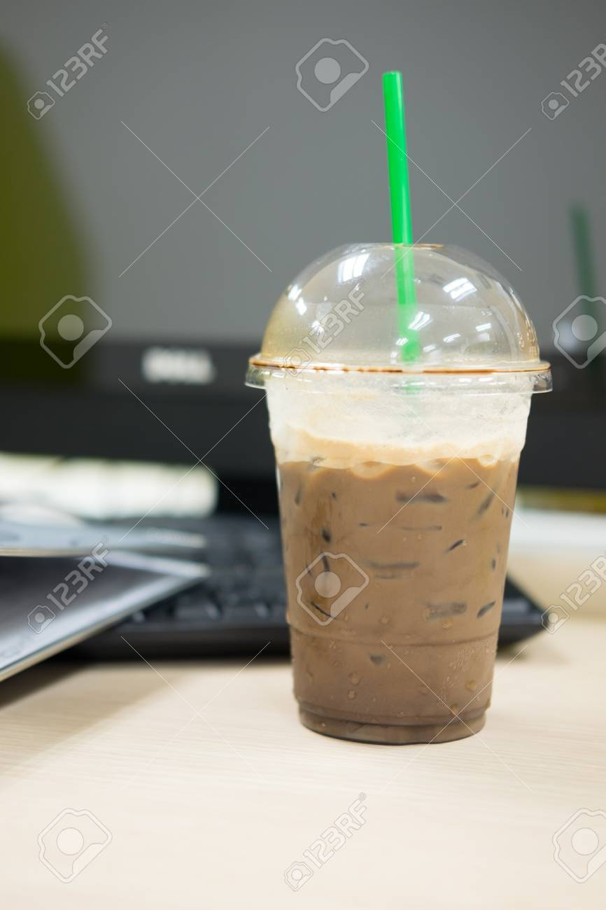 Ice blended mocha stock photos royalty free ice blended mocha ice dark mocha coffee on table at office geotapseo Gallery