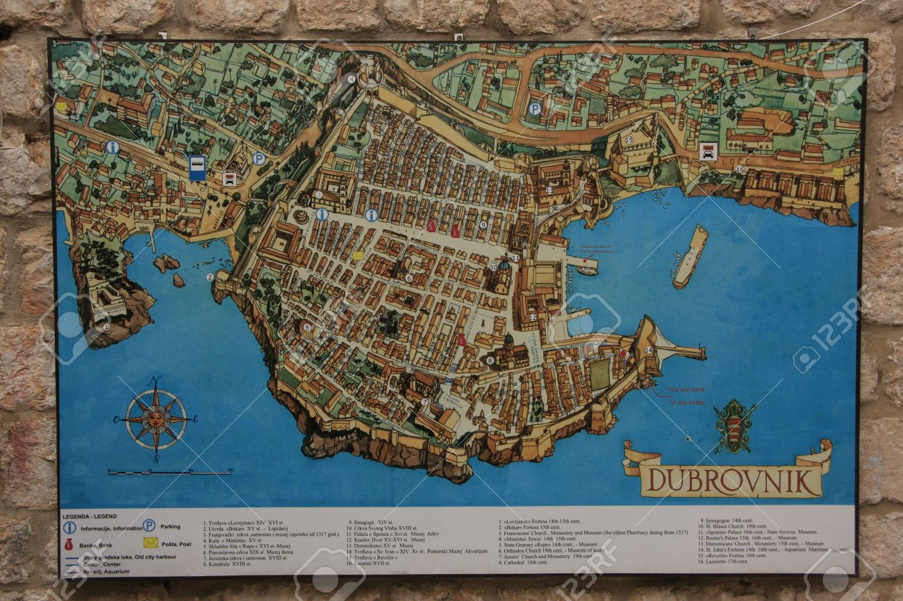 Map of old town of dubrovnik croatia fotos retratos imgenes y map of old town of dubrovnik croatia foto de archivo 14597433 gumiabroncs Images