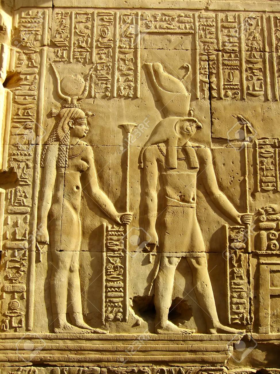 Ancient Hieroglyphics On The Wall Of Kom Ombo Temple, Egypt Stock ...
