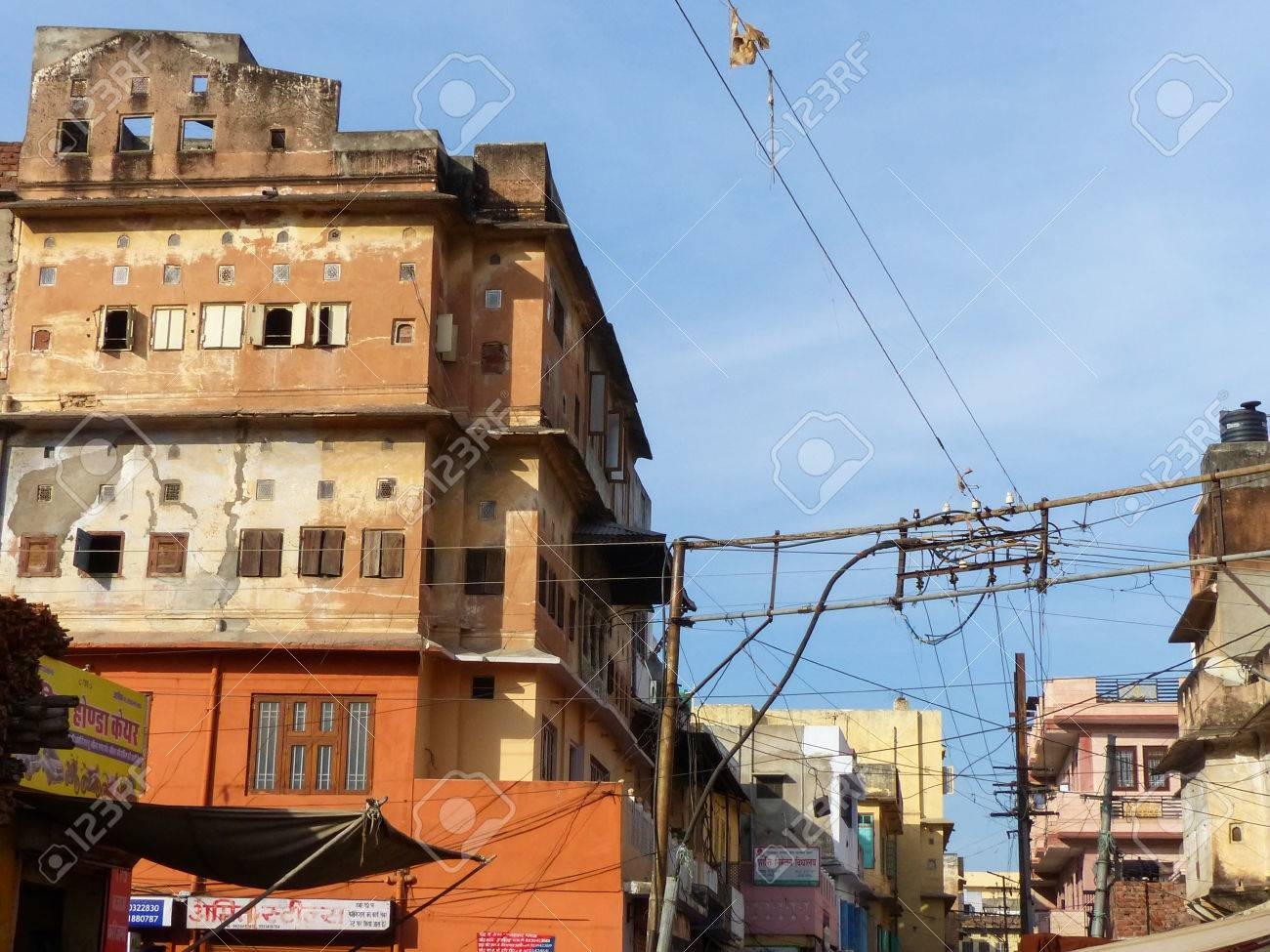 Typical Electrical Wiring In The Streets Of Jaipur Rajasthan