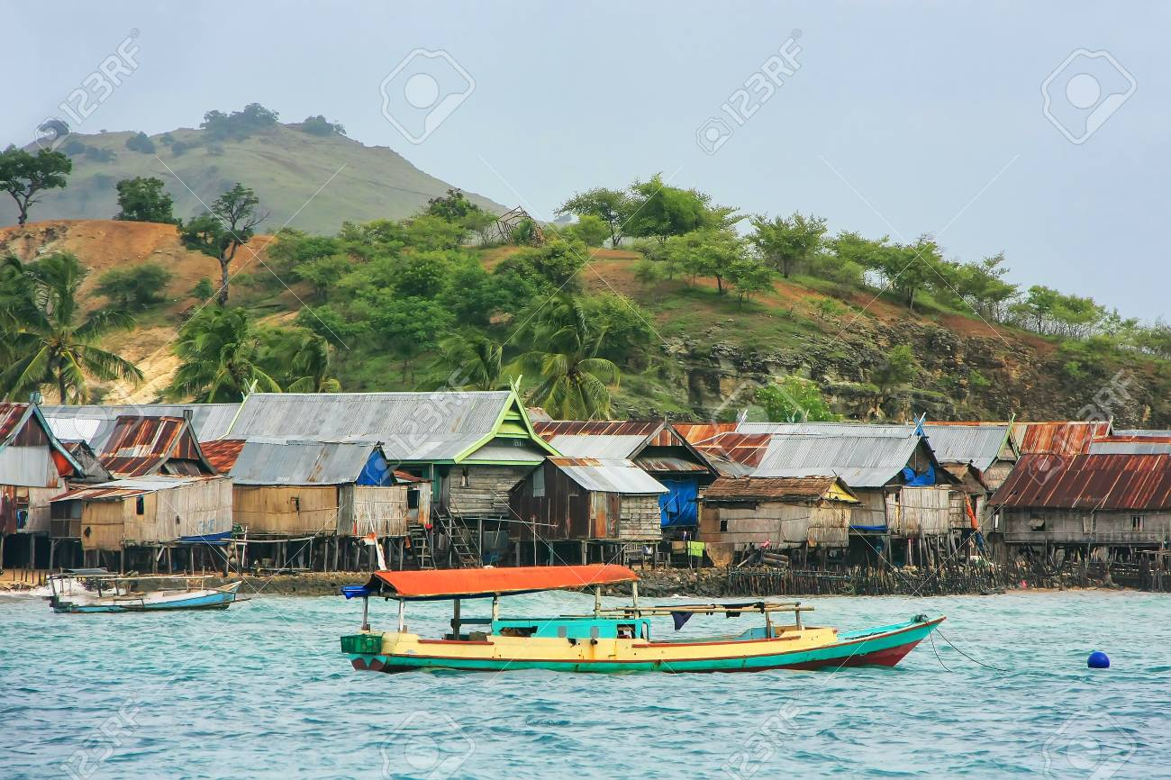 Typical Village On Small Island In Komodo National Park Nusa