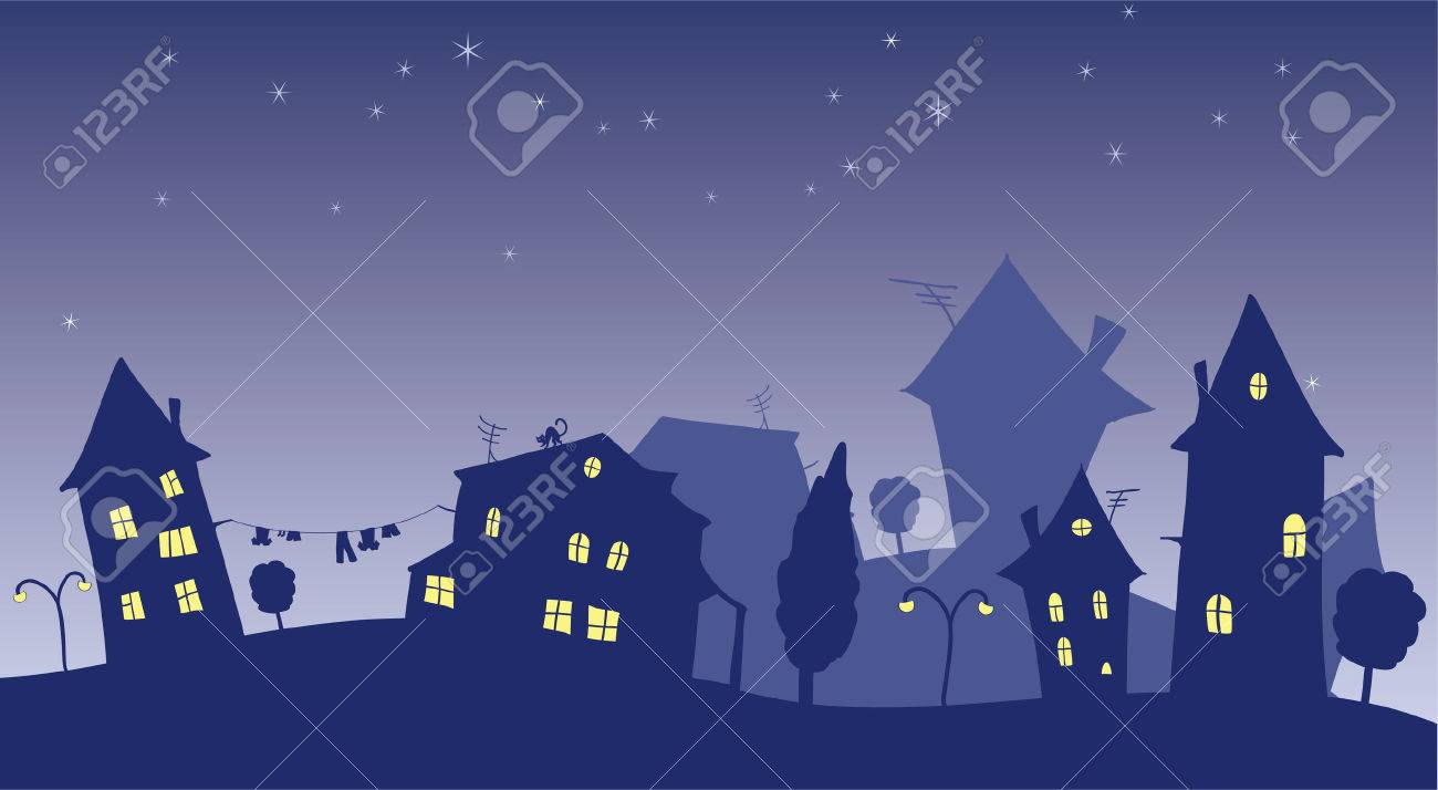 vector cartoon cottages at night Stock Vector - 4728568