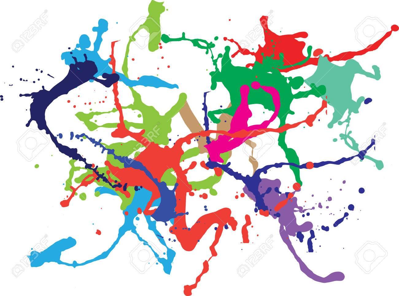 Orange Splat Design Colourful Ink Splat Design