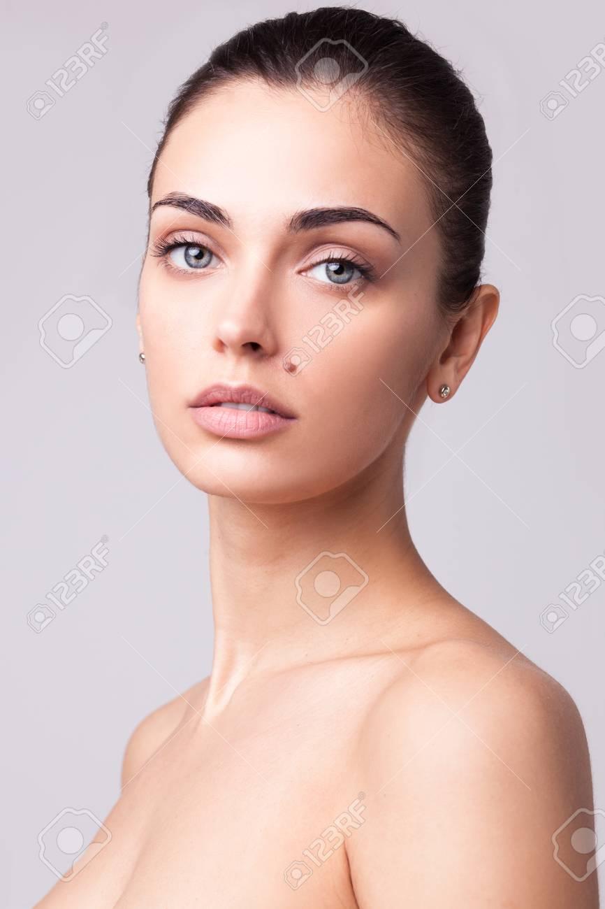 Beautiful brunette woman portrait stock photo 95434198