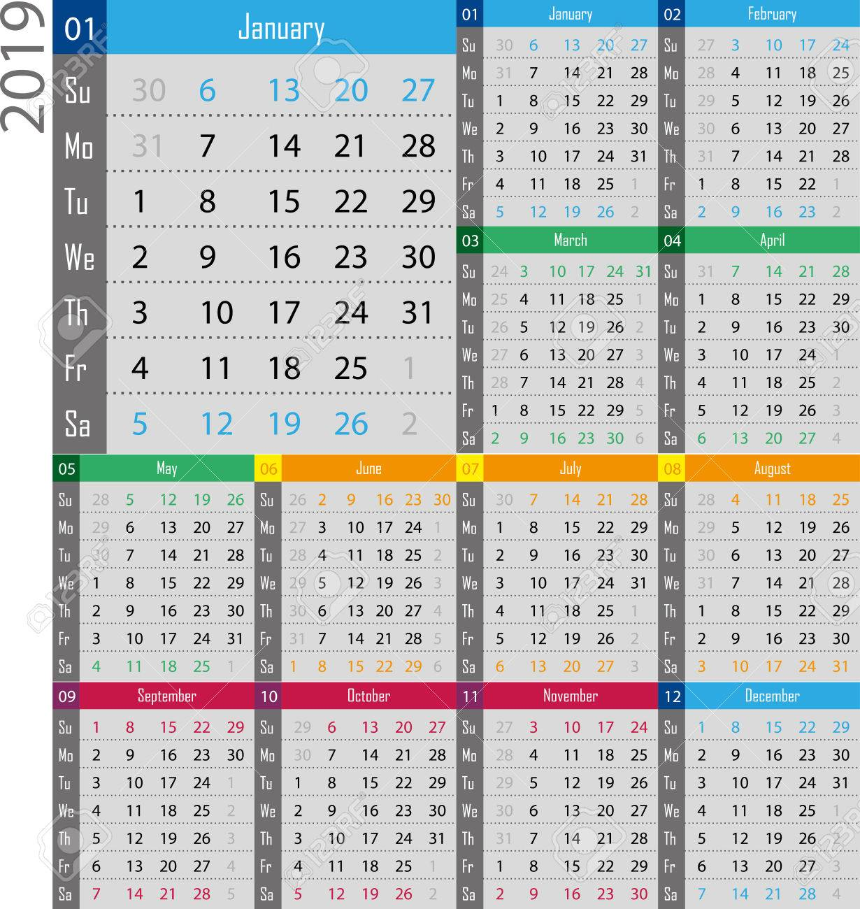 Calendar For The Year 2019 Royalty Free Cliparts, Vectors, And Stock ...
