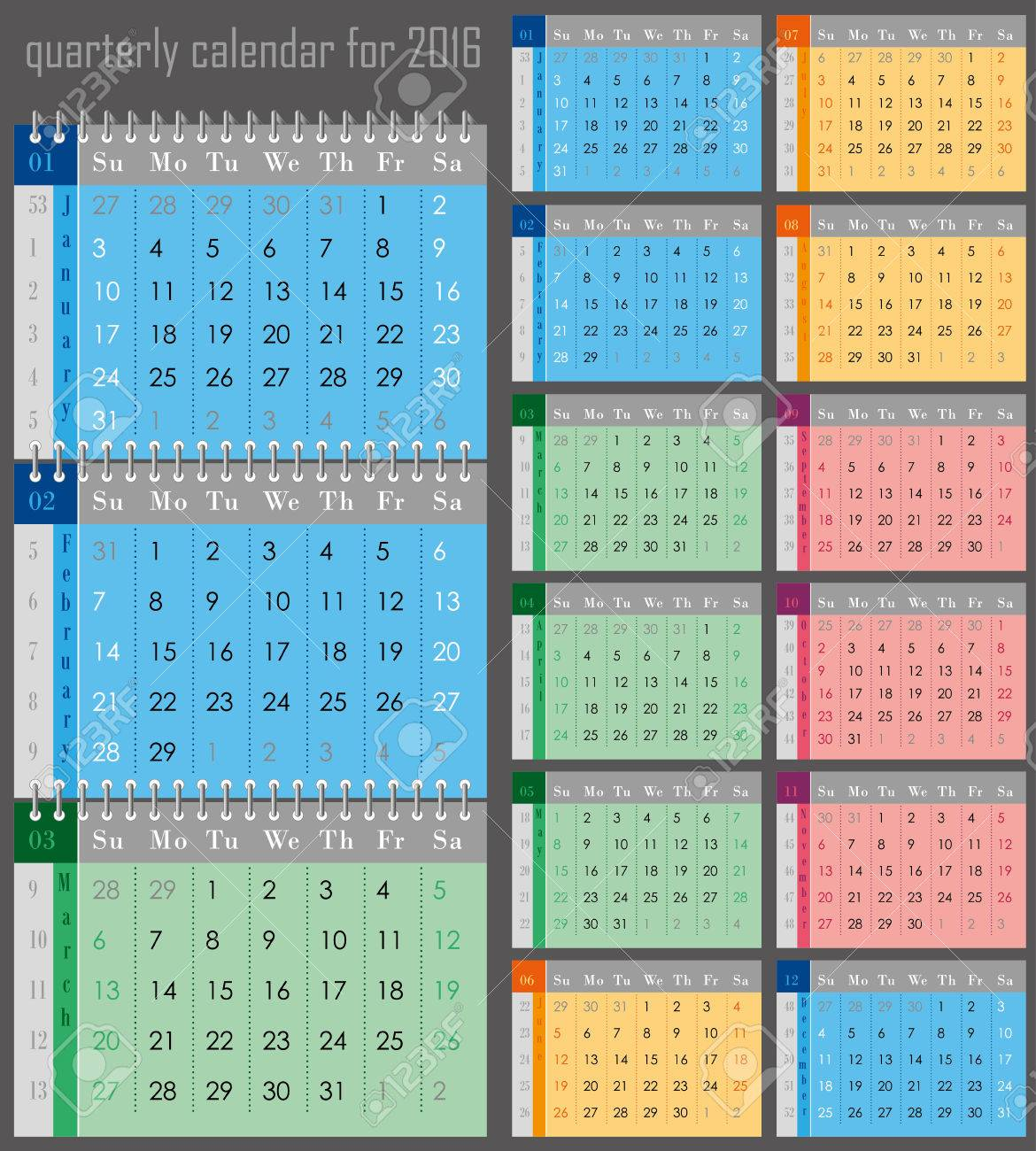 Quarterly Calendar For The 2016 Year For Print Royalty Free ...