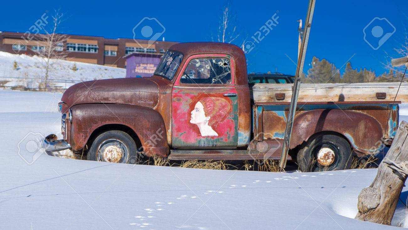 Old Pickup Truck In Snow Stock Photo, Picture And Royalty Free Image ...