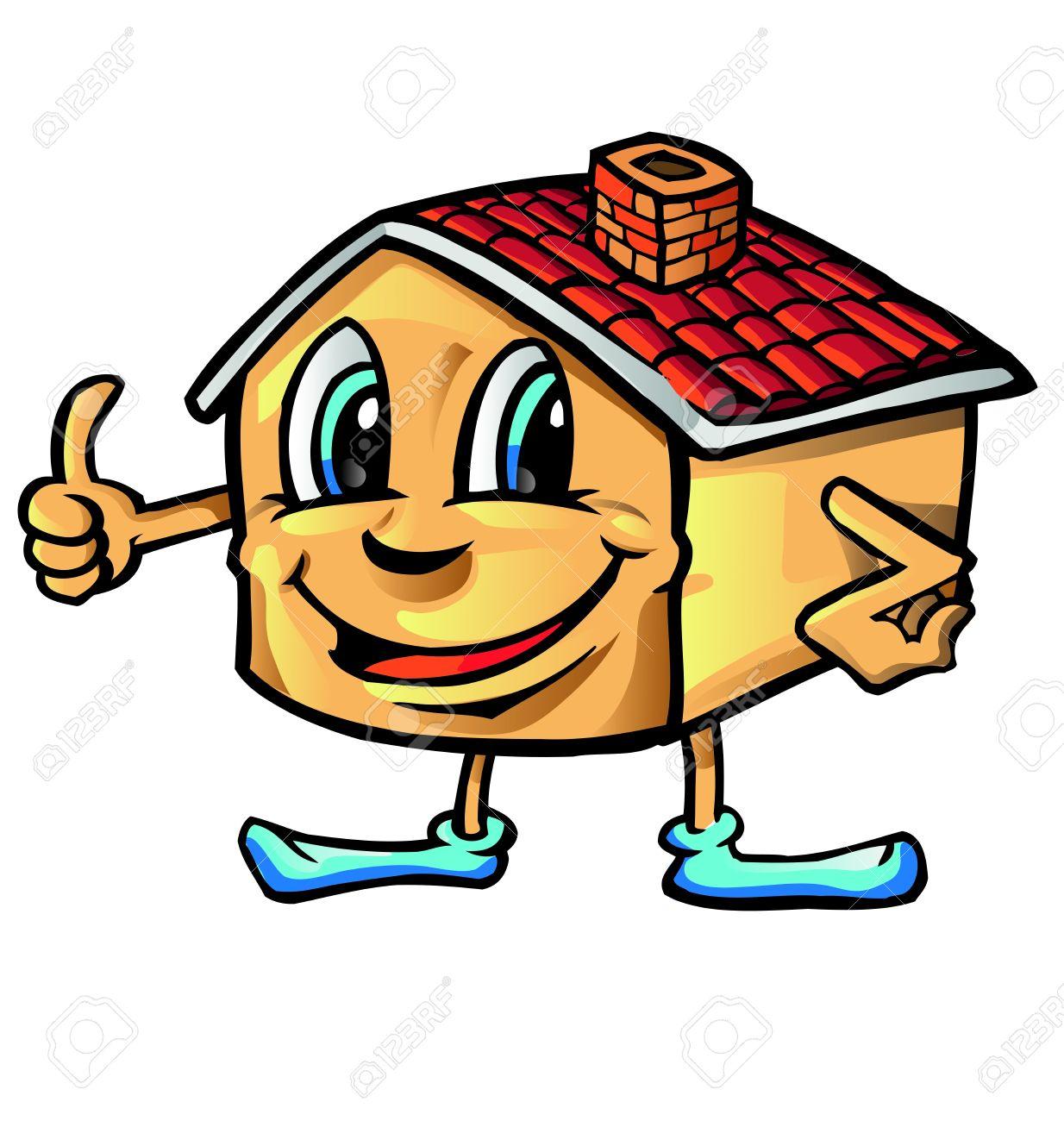 Good Happy House Cartoon Thumb Up Stock Vector   18711495